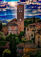 """The light of God falls on the bell tower of Santa Maria Maggiore – Assisi""…<br />