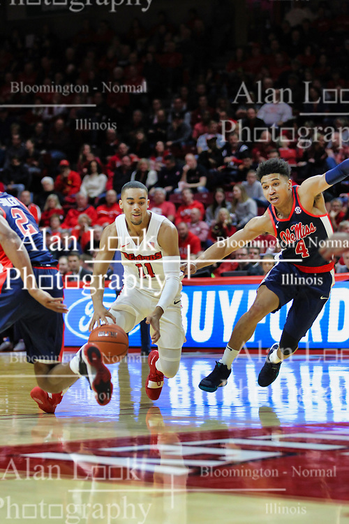 NORMAL, IL - December 08: Josh Jefferson guarded by Breein Tyree during a college basketball game between the ISU Redbirds and the University of Mississippi (Ole Miss) Rebels on December 08 2018 at Redbird Arena in Normal, IL. (Photo by Alan Look)