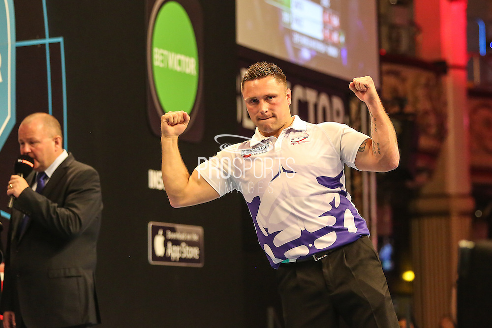 Gerwyn Price celebrates victory over Michael Smith during the First Round of the BetVictor World Matchplay Darts at the Empress Ballroom, Blackpool, United Kingdom on 19 July 2015. Photo by Shane Healey.