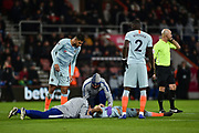 Chelsea Defender, David Luis (30) takes a blow to the face during the Premier League match between Bournemouth and Chelsea at the Vitality Stadium, Bournemouth, England on 30 January 2019.
