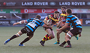 Carmarthen Quins' outside half Jac Wilson is tackled by Cardiffs' number 8 Morgan Allen (Capt.).<br /> <br /> Cardiff Arms Park, Cardiff, Wales, UK - Saturday 19th October, 2019.<br /> <br /> Images from the Indigo Welsh Premiership rugby match between Cardiff RFC and Carmarthen Quins RFC. <br /> <br /> Photographer Dan Minto<br /> <br /> mail@danmintophotography.com <br /> www.danmintophotography.com