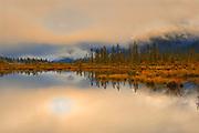 Vermillion Lakes shrouded in fog at sunrise<br />Banff National Park<br />Alberta<br />Canada