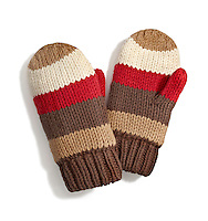 Brown and red striped mittens on white background