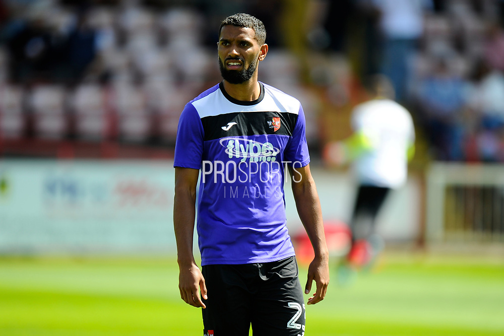 Luke Croll (23) of Exeter City warming up before the EFL Sky Bet League 2 match between Exeter City and Cambridge United at St James' Park, Exeter, England on 5 August 2017. Photo by Graham Hunt.