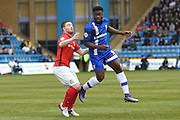 Gillingham defender Deji Oshilaja during the Sky Bet League 1 match between Gillingham and Coventry City at the MEMS Priestfield Stadium, Gillingham, England on 2 April 2016. Photo by Martin Cole.