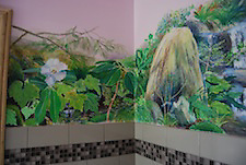detail from a wall over a bathtub, acrylic on wallboard, commission for Linda and Dick Burnett