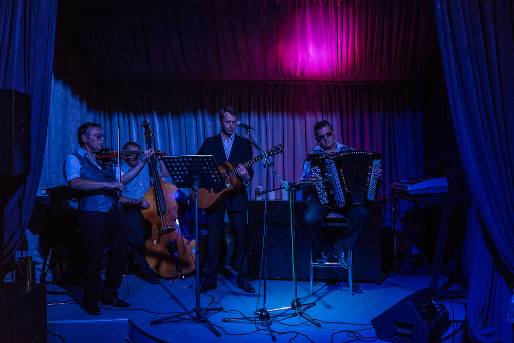 A band plays at a restaurant on Thursday, September 15, 2016 in Minsk, Belarus.