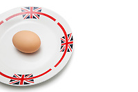 Brown egg in plate over white background