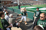 Rufus high-fives a fan during the homecoming matchup against Bowling Green at Peden Stadium in Athens, Ohio on Saturday, October 8, 2016.