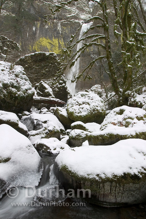 Elowah Falls during Winter, Columbia River Gorge National Scenic Area, Oregon.