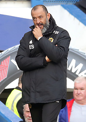 Wolverhampton Wanderers manager Nuno Espirito Santo watches match action from the touchline during the Premier League match at Stamford Bridge, London.