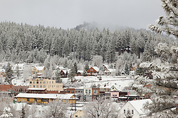 """Downtown Truckee 14"" - Photograph of a snowy Downtown Truckee in the morning."