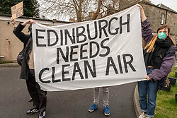 Pictured: <br />Clean air protestors hijacked the Scottish Conservatives launch of an advertising campaign against the Car Park Tax, with the SNP and the Greens set to vote it through Holyrood. Robert Kilgour, owner of the Letham Park Care Home was not pleased with the protest. Jackson Carlaw MSP and Miles Briggs MSP unveiled an Ad Van at Letham Park Care Home Edinburgh before it travels across the central belt to workplaces that are set to be hit by the parking charge.<br /><br />Ger Harley | EEm 21 February 2019