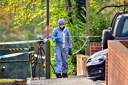 © Licensed to London News Pictures.03/11/2017.<br /> PENGE, UK.<br /> POLICE FORENSICS AT THE SCENE, BETTS WAY ENTRANCE.<br /> A Murder investigation has been launched following a fatal stabbing in Penge at Betts Park, Anerley Road,<br /> Police were called at 19.22 hrs on Thursday 2 November to Betts Park,Penge near Bromley to reports of a male having been attacked. The victim was pronouced dead at the scene. The park is closed off by police.<br /> Photo credit: Grant Falvey/LNP