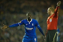 BIRMINGHAM, ENGLAND - Thursday, November 3, 2011: Birmingham City's Guirane N'daw appeals for a decision from referee Marcin Borski against Club Brugge during the UEFA Europa League Group H match at St. Andrews. (Pic by David Rawcliffe/Propaganda)