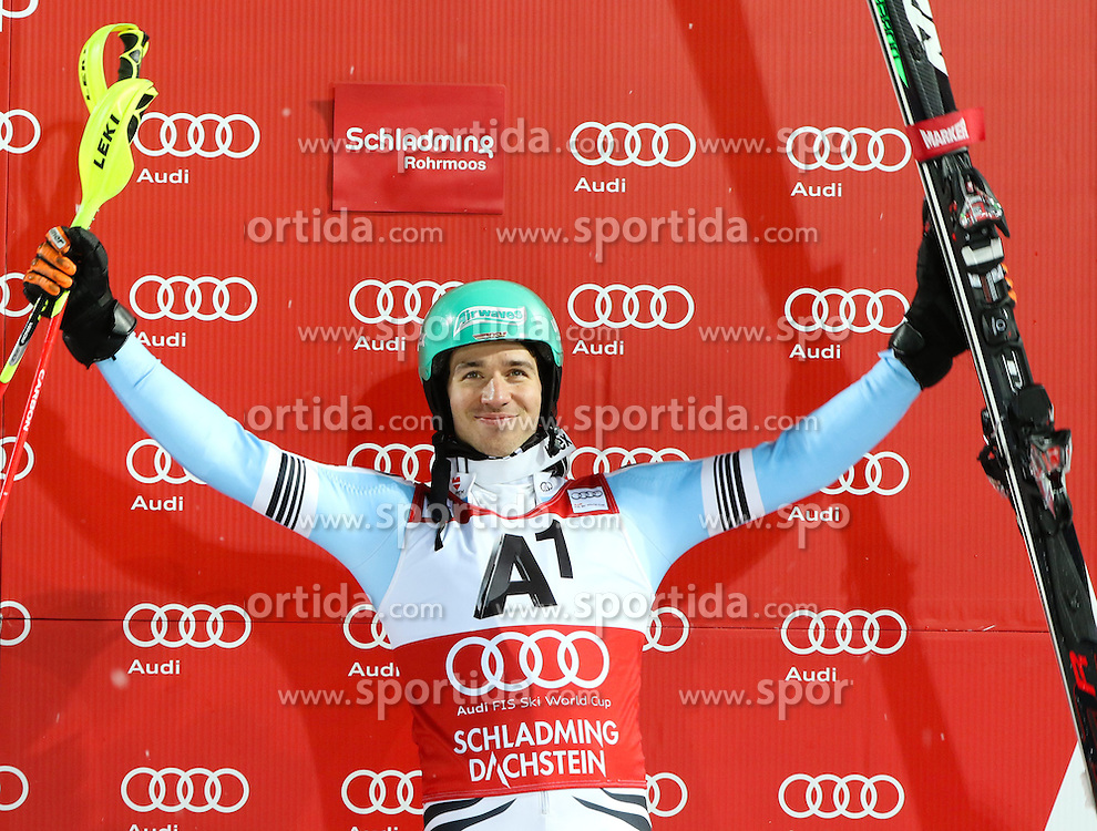 27.01.2015, Planai, Schladming, AUT, FIS Weltcup Ski Alpin, Nightrace, Slalom, Herren, Siegerehrung, im Bild Felix Neureuther (GER) // Felix Neureuther of Germany celebrates on podium Schladming FIS Ski Alpine World Cup at the Planai course in Schladming, Austria on 2015/01/27. EXPA Pictures © 2015, PhotoCredit: EXPA/ Martin Huber