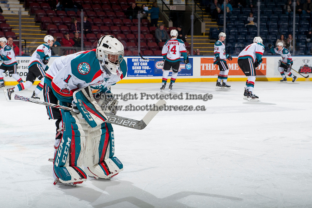 KELOWNA, CANADA - JANUARY 5: James Porter #1 of the Kelowna Rockets skates on the ice during warm up against the Seattle Thunderbirds on January 5, 2017 at Prospera Place in Kelowna, British Columbia, Canada.  (Photo by Marissa Baecker/Shoot the Breeze)  *** Local Caption ***