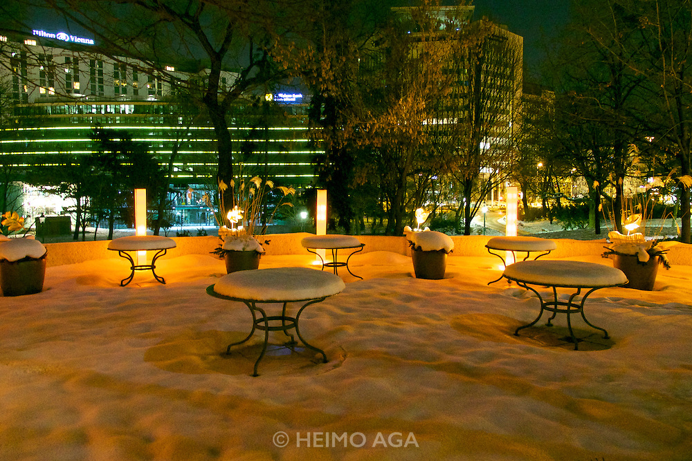 "Vienna, Austria. The ""Steirereck"" with award winning Chef Heinz Reitbauer Junior is probably Vienna's best restaurant.<br /> The snow-covered garden in winter."