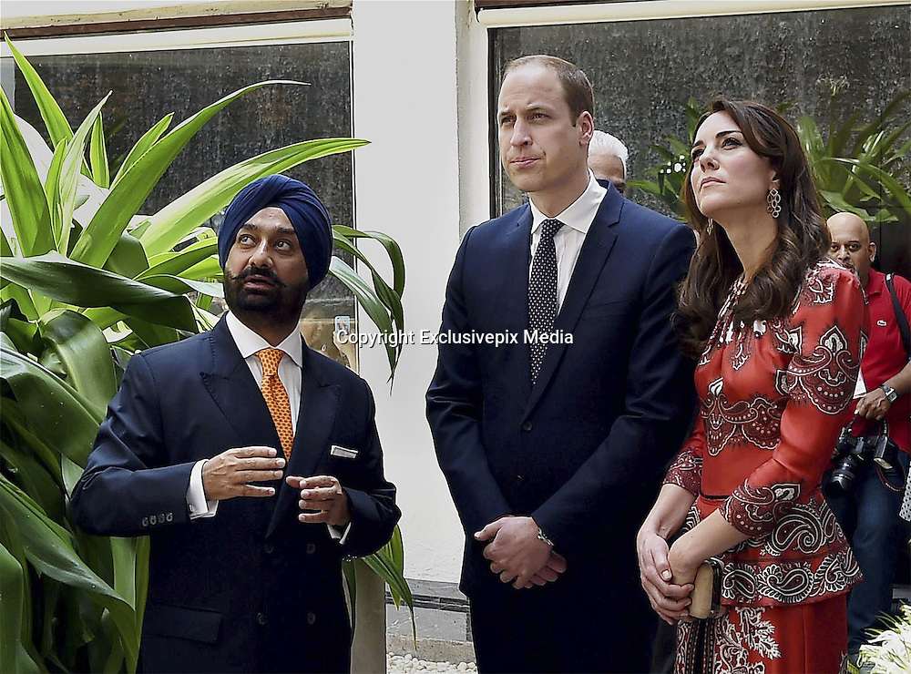 April 10, 2016 - Mumbai, INDIA - <br /> <br /> The Duke and Duchess of Cambridge, Prince William, center and his wife, the former Kate Middleton arrive to lay a wreath on the martyrs memorial at the Taj Mahal Palace Hotel in Mumbai, India, Sunday, April 10, 2016. The royal couple began their weeklong visit to India and Bhutan, by laying a wreath at a memorial Sunday at Mumbai iconic Taj Mahal Palace hotel, where 31 victims of the 2008 Mumbai terrorist attacks were killed.<br /> ©Exclusivepix Media