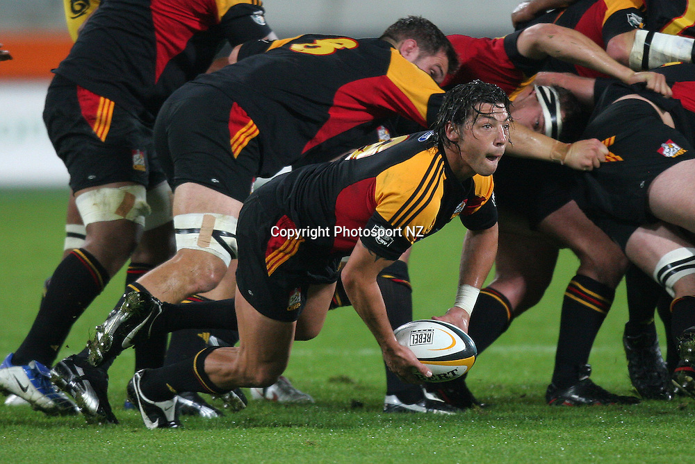 Chief's Byron Kelleher passes out the scrum ball during the Hurricanes 28-16 win against the Chiefs in a  Super 12 match at the Westpac Trust Stadium in Wellington. <br /> 01 April 2005<br /> Photo: Marty Melville/Photosport
