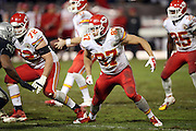 Kansas City Chiefs tight end Travis Kelce (87) looks to block during the NFL week 12 regular season football game against the Oakland Raiders on Thursday, Nov. 20, 2014 in Oakland, Calif. The Raiders won their first game of the season 24-20. ©Paul Anthony Spinelli