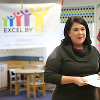 Lauren Wood | Buy at photos.djournal.com<br /> Excel by 5 executive director Eileen Beazley speaks to those gathered about Lee County becoming a certified community Thursday morning at the NMMC Child Care Center.