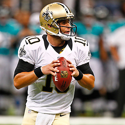 August 17, 2012; New Orleans, LA, USA; New Orleans Saints quarterback Chase Daniel (10) against the Jacksonville Jaguars during the second half of a preseason game at the Mercedes-Benz Superdome. The Jaguars defeated the Saints 27-24.  Mandatory Credit: Derick E. Hingle-US PRESSWIRE