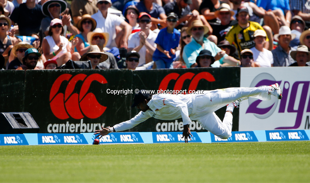 Sri Lanka's Tharindu Kaushai fields the ball on the boundary. First day, ANZ Boxing Day Cricket Test, New Zealand Black Caps v Sri Lanka, 26 December 2014, Hagley Oval, Christchurch, New Zealand. Photo: John Cowpland / photosport.co.nz