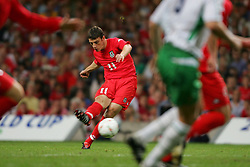 CARDIFF, WALES - Wednesday, September 8, 2004: Wales' Jason Koumas in action against Northern Ireland during the Group Six World Cup Qualifier at the Millennium Stadium. (Pic by David Rawcliffe/Propaganda)