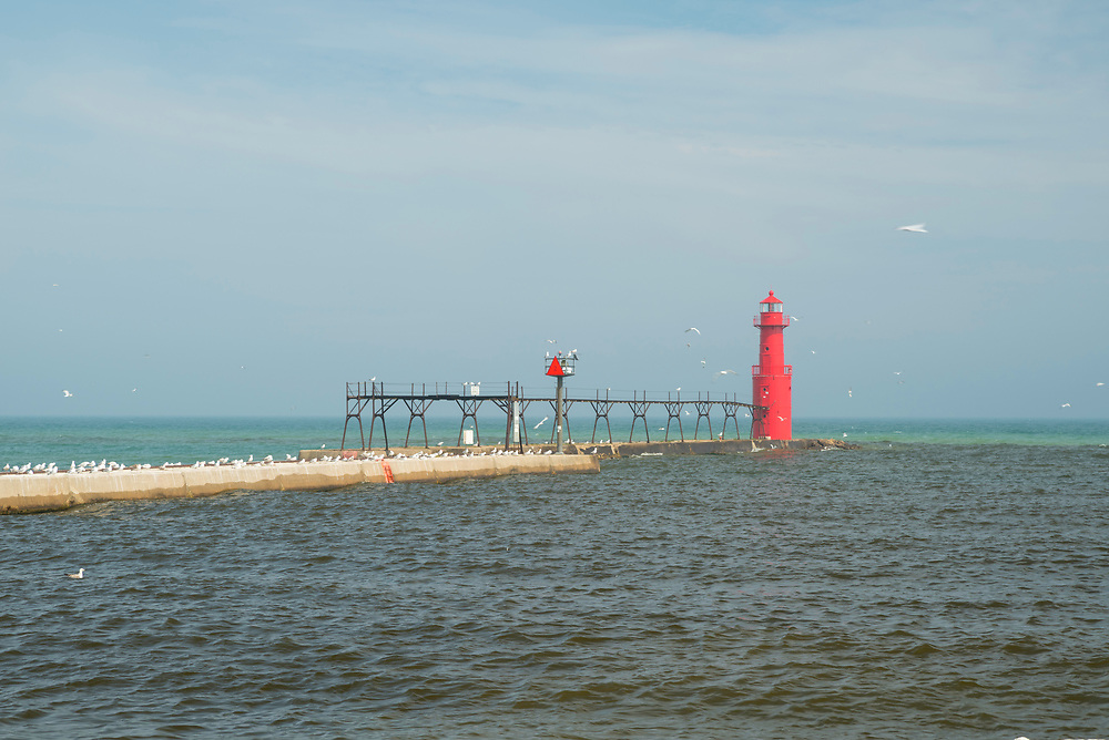View of Kewaunee Harbor and Lighthouse.