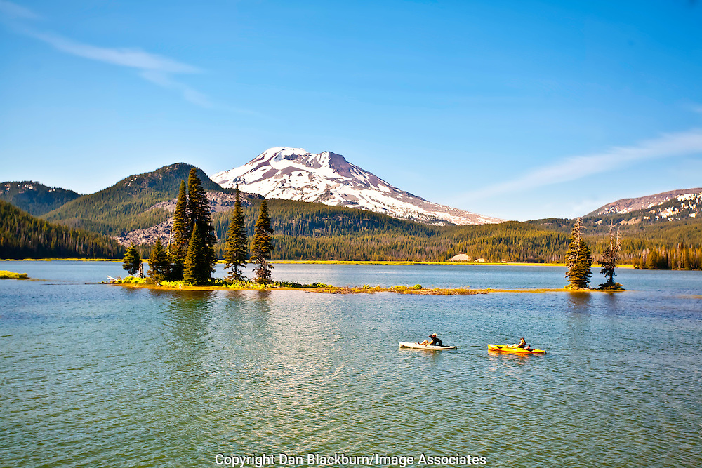 Kayaking on Sparks Lake Beneath South Sister in the Cascade Mountains of Oregon
