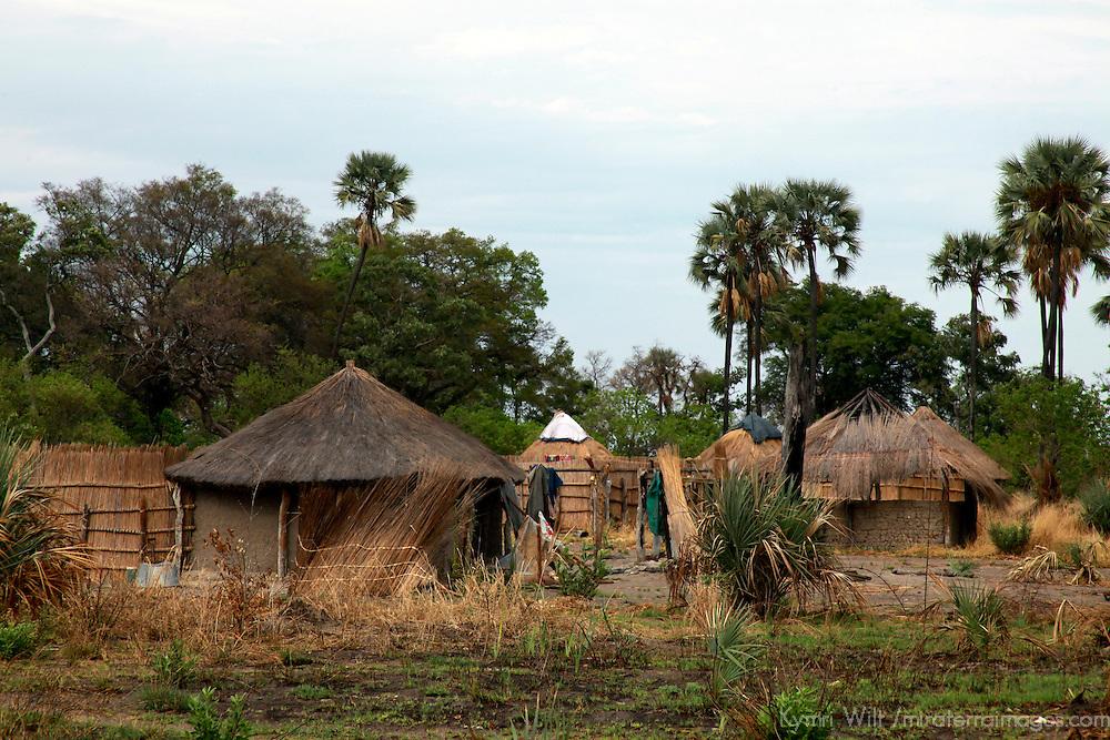 Africa, Botswana, Okavango Delta. Village homes and structures in the Okavango Delta.