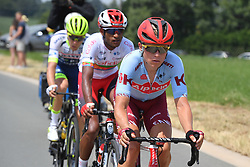 July 6, 2019 - Brussels, Belgium - Belgian Xandro Meurisse of Wanty-Gobert Cycling Team, Eritrean Natnael Berhane of Cofidis and Danish Mads Wurtz Schmidt of Katusha-Alpecin pictured in action during the first stage of the 106th edition of the Tour de France cycling race, 194,5km from and to Brussels, Belgium, Saturday 06 July 2019. This year's Tour de France starts in Brussels and takes place from July 6th to July 28th. (Credit Image: © David Stockman/Belga via ZUMA Press)