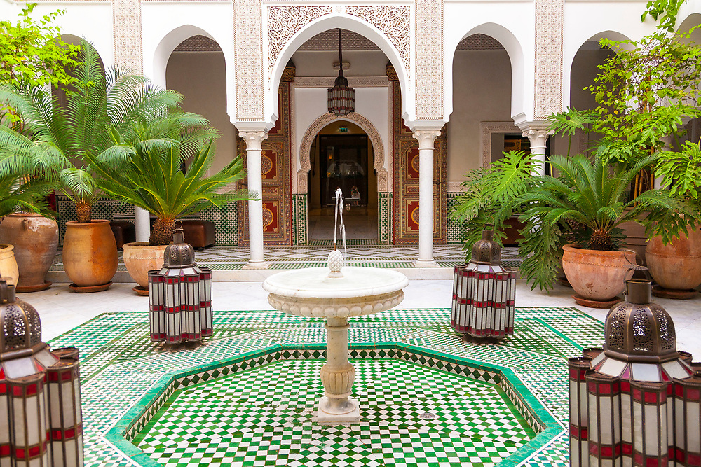 Marrakech, Morocco, city, Africa, architecture, color, tile, palace, fountain, travel, tourism, adventure