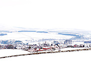 Southern Upland Way, Sanquhar View over town and countryside covered in snow.