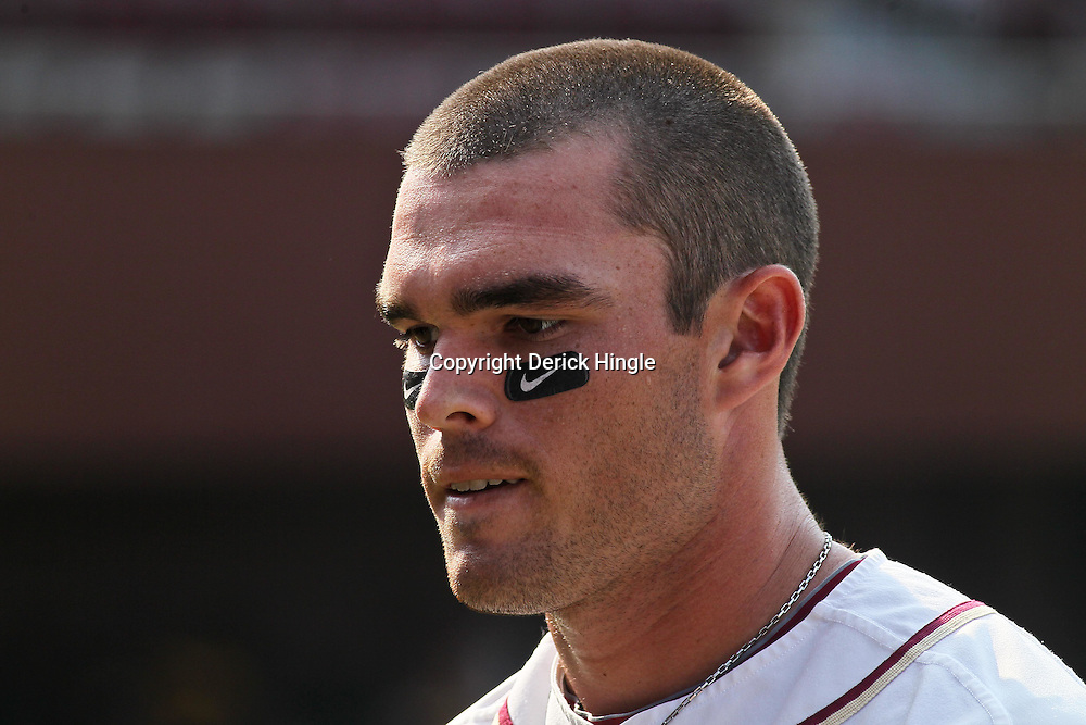June 03, 2011; Tallahassee, FL, USA; Florida State Seminoles first baseman Jayce Boyd (16) before the Tallahassee regional of the 2011 NCAA baseball tournament against the Bethune-Cookman Wildcats at Dick Howser Stadium. Mandatory Credit: Derick E. Hingle