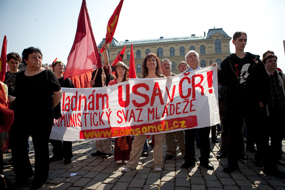 Demonstration against the planned US military radar base in Czech Republic on the day of Barack Obamas arrivel to Prague. Protestors of the youth organisation of the Communist Party of the Czech Republic (KSCM).