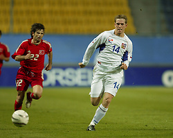 TEPLICE, CZECH REPUBLIC - Wednesday, April 30, 2003: Czech Republic's Stepan Vachousek in action against Turkey during a friendly match at the Teplice Stadion Na Stinadlech. (Pic by David Rawcliffe/Propaganda)