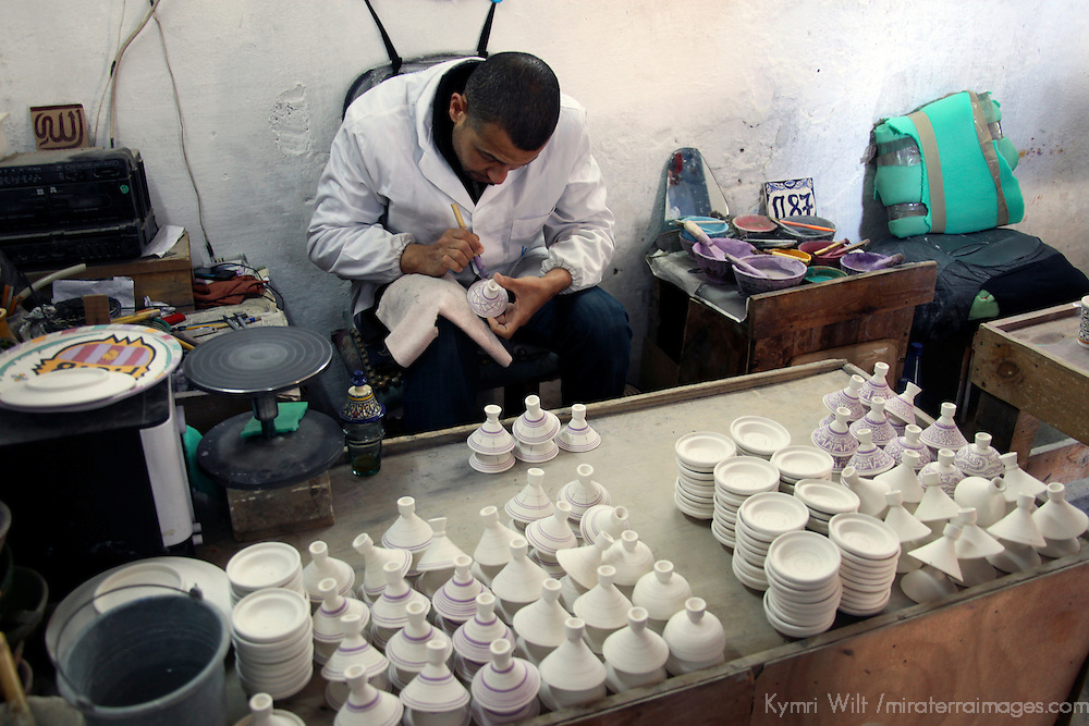 Africa, Morocco, Fes. Moroccan artisan hand paints ceramics.
