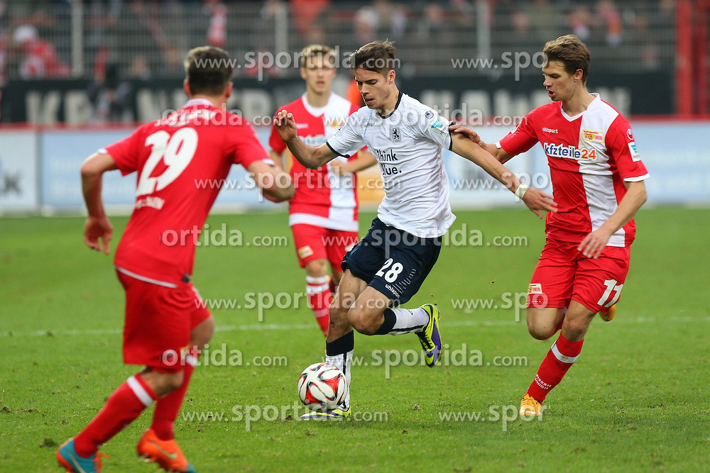 22.11.2014, Alte F&ouml;rsterei, Berlin, GER, 2. FBL, 1. FC Union Berlin vs TSV 1860 Muenchen, 14. Runde, im Bild Zweikampf zwischen Julian Weigl (TSV 1860 Muenchen) und Maximilian Thiel (1. FC Union Berlin) // SPO during the 2nd German Bundesliga 14th round match between 1. FC Union Berlin and TSV 1860 Muenchen at the Alte F&ouml;rsterei in Berlin, Germany on 2014/11/22. EXPA Pictures &copy; 2014, PhotoCredit: EXPA/ Eibner-Pressefoto/ Hundt<br /> <br /> *****ATTENTION - OUT of GER*****