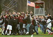 Freedom Plains, NY - Arlington High School boys' soccer players and fans celebrate after the team defeated Horace Greeley 1-0 in overtime  in the Section 9 Class AA boys' soccer championship game on Nov. 7, 2009.