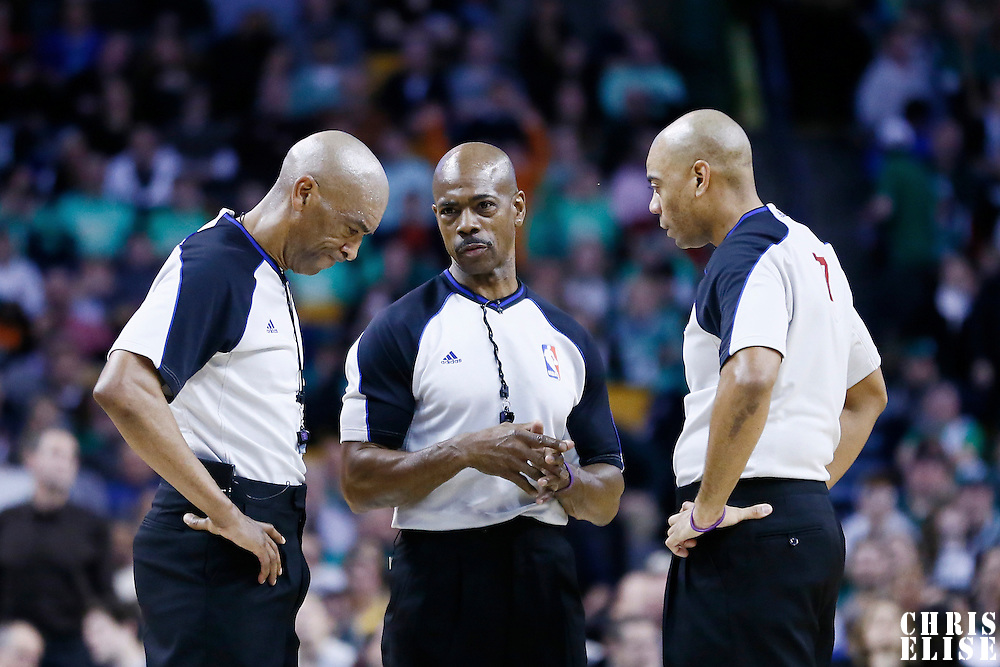 08 March 2013: referees Tom Washington, Leon Wood and Karl Lane are seen during the Boston Celtics 107-102 OT victory over the Atlanta Hawks at the TD Garden, Boston, Massachusetts, USA.