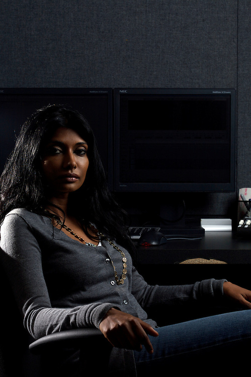 8/12/08 9:03:45 AM -- Washington, DC, U.S.A..Documentary filmmaker Roshini Thinakaran, in her editing suite in Washington, DC on Tuesday, Aug. 12, 2008...Photo by Jay Westcott, Freelance.