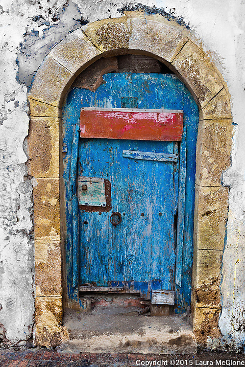 Vintage Blue Doorway in Essaouira, Morocco