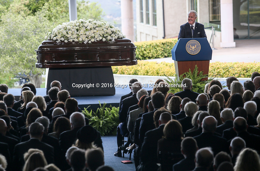 Brian Mulroney speaks during a funeral service for the former first lady Nancy Reagan at the Ronald Reagan Presidential Library and Museum in Simi Valley, California on March 11, 2016. Reagan died of congestive heart failure in her sleep at her Bel Air home Sunday at age 94. A bout 1,000 guests from the world of politics attended the final farewell to Nancy Reagan as the former first lady is eulogized and laid to rest next to her husband at his presidential library.<br />    (Photo by Ringo Chiu/PHOTOFORMULA.com)<br /> <br /> Usage Notes: This content is intended for editorial use only. For other uses, additional clearances may be required.