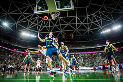 Sebastian Saiz of Spain and Vlatko Cancar of Slovenia during basketball match between Slovenia and Spain in Round #5 of FIBA Basketball World Cup 2019 European Qualifiers, on June 28, 2018 in SRC Stozice, Ljubljana, Slovenia. Photo by Urban Urbanc / Sportida