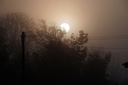 © Licensed to London News Pictures. 23/10/2016<br /> Foggy morning in Orpington, Kent.<br /> The early morning sun held back by the autumn fog.<br /> <br /> Photo credit :Grant Falvey/LNP