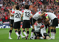 28.05.2011, Wembley Stadium, London, ENG, UEFA CHAMPIONSLEAGUE FINALE 2011, FC Barcelona (ESP) vs Manchester United (ENG), im Bild Manchester celebrate their goal during the 2011UEFA  Champions League final between Manchester United from England and FC Barcelona from Spain, played at Wembley Stadium London, EXPA Pictures © 2011, PhotoCredit: EXPA/ M. Gunn