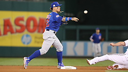 October 6, 2017 - Washington, DC, USA - Chicago Cubs second baseman Javier Baez (9) doubles up the Washington Nationals' Daniel Murphy on a grounder hit by Ryan Zimmerman in the fourth inning during Game 1 of a National League Division Series on Friday, Oct. 6, 2017, at Nationals Park in Washington D.C. (Credit Image: © Brian Cassella/TNS via ZUMA Wire)