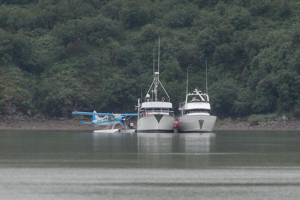 Seaplane unloading supplies to the Coastal Explorer